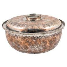 Rare Ottoman Damascus Tinned Copper Lidded Bowl, 19th Century
