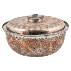 Rare Ottoman Damascus Tinned Copper Lidded Bowl, 19th Century