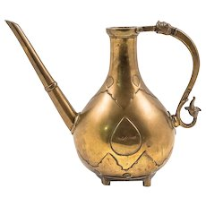 Mughal Cast Brass Ewer or Aftaba with Dragon and Lion Handle, 18th Century