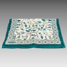 Turkish Bursa Silk Scarf with Iznik Flower Design -  Dark Green Color