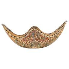 Rare Polychrome Zand Dynasty Gilded and Painted Brass Kashkul Qashqul Begging Bowl, 18th Century