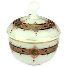 Bohemian Milk Glass Antique Bonnboniere Candy Vessel, 19th Century