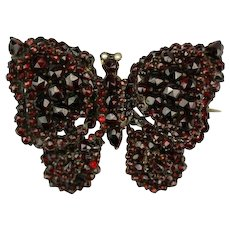 Antique Bohemian Garnet Butterfly Brooch from Tombac, 19th Century