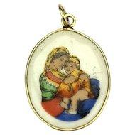 Madonna della Seggiola 14k Gold Vintage Pendant, Czechoslovakia, 1940´s