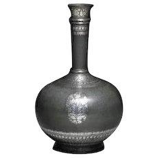 Antique Silver Inlaid Bidriware - India Huqqa Water Pipe Base, 18th Century