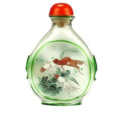 Antique Chinese Painted Glass Snuff Bottle, 19th Century