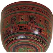 Antique India Papier-Mache Buddhist Bowl, 19th Century
