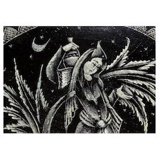Middle East Engraved Lady with Jug Shale Plate
