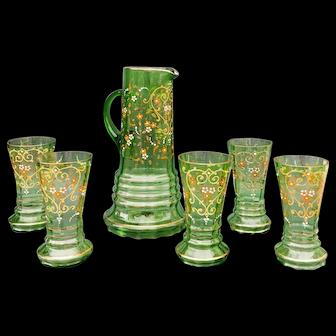 Bohemian Green Gilt and Enamelled Set, 19th Century
