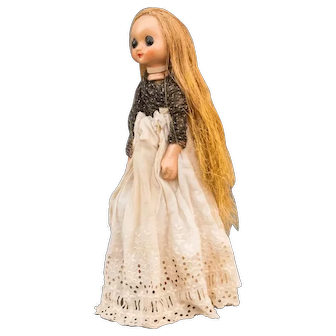 Remarkable Handmade Czechoslovak Doll with Golden Cotton Hair