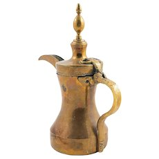 Turkish Ottoman Brass Coffee Ewer with Tughra Seal, 19th century