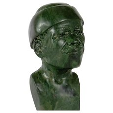 Congo Carved Malachite Bust, 1960´s