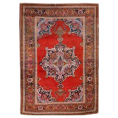 Antique Red Kashan Carpet, Early 20th Century