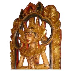 Large Burmese Polychrome and Gilt Wooden Wall Hanging