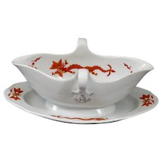 Meissen Gravy Boat with Chinese Dragon and Cock Design