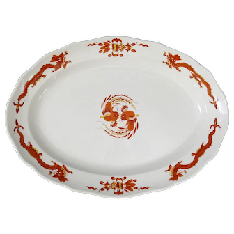 Meissen Large Bowl with Chinese Dragon and Cock Design