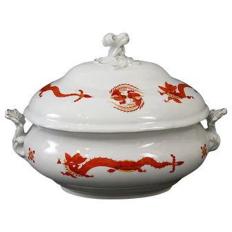 Meissen Large Tureen with Chinese Dragon and Cock Design