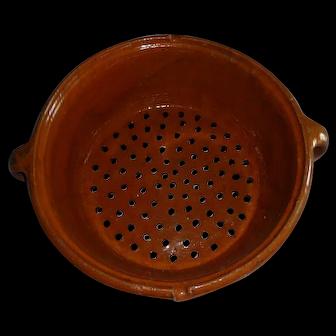 Large Antique Kitchen Ceramic Strainer, 19th Century