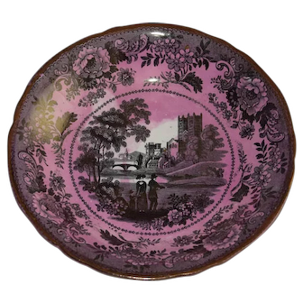 Antique Romantic Pink Durham Davenport Plate, 19th Century