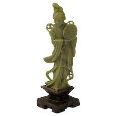Vintage Chinese Soapstone Geisha with Lamp