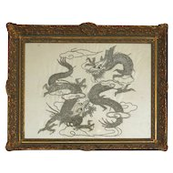 Antique Chinese Dragons Silk Embroidery, 19th Century