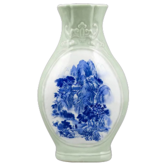 Chinese Celadon Vase with Cobalt Painting, 20th Century