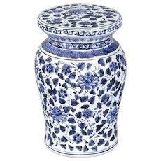 Large Chinese Cobalt Blue Ceramic Stool
