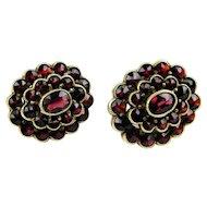 Floral Bohemian Vintage Garnet Earrings