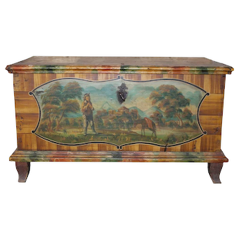 Bohemian Painted Spruce Wood Chest, 19th Century