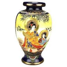 Antique Japanese Satsuma Geisha Vase, Early 20th Century