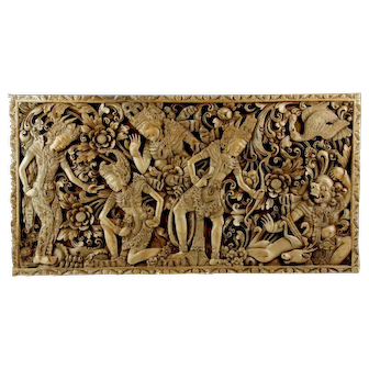 Bali Balinese Carved Exotic Wood Large Panel, Indonesia