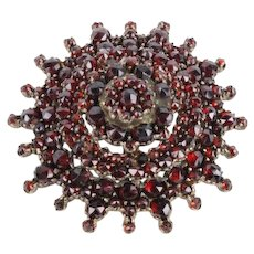 Amazing Bohemian Floral Garnet Brooch in Tombac, 1930´s