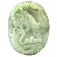 Chinese Asian Jade Dragon Medallion Plaque