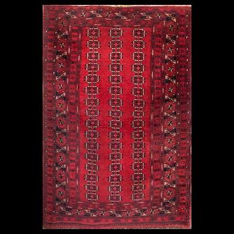Antique Turkmenistan Wool Carpet, Bukhara Design
