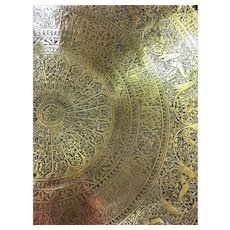 Extremely Large 28.7 Inch Wide Qajar Brass Tray
