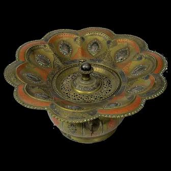 Rare Kokand or Bukhara Turquoise-Set Brass Basin Dastshui, 19th C