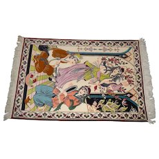 Middle East Vintage Kork Wool and Silk Pictorial Rug