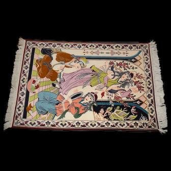 Nain Vintage Kork Wool and Silk Pictorial Rug