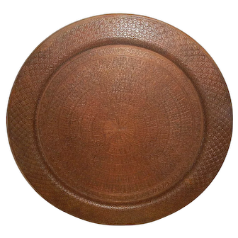 Large Extremely Massive Indian Copper Tray