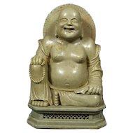 Chinese Late Qing Green Soapstone Buddha