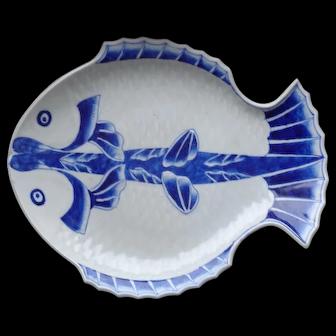 Antique Chinese Qing Cobalt Blue Large Fish Bowl