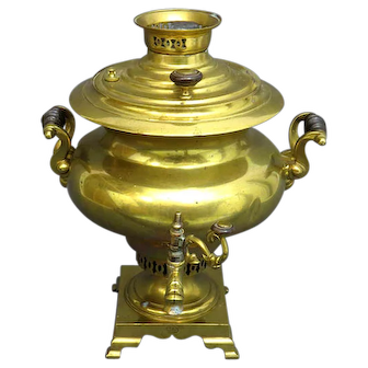 Very Large Antique Russian Brass Marked Samovar