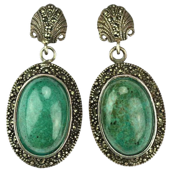 Czech Large Malachite and Silver Earrings