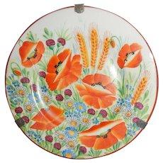 Floral Poppy Decorative Plate, Czechoslovakia, Klenci