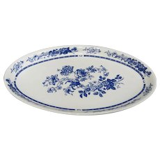 Bohemian Porcelain Oval Charger with Blue Floral Decor