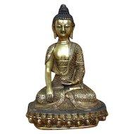 Large Sino-Tibetan Bronze Buddha on Lotus Throne