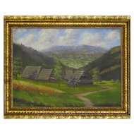 Beskydy Mountain Traditional Wooden Cottages Painting