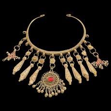Afghan Kuchi Tribal Jewelry, Base Metal-Glass, mid 20th Century