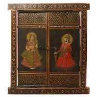 Antique India Polychrome Wooden Window
