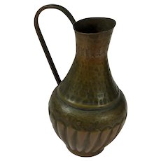 Egyptian Hammered Copper Bulbous Ewer or Jug
